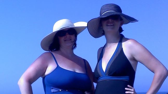 Nancy & I in our floppy beach hats
